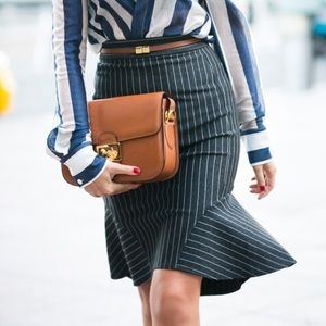 Torn by Ronny Kobo pinstripe skirt
